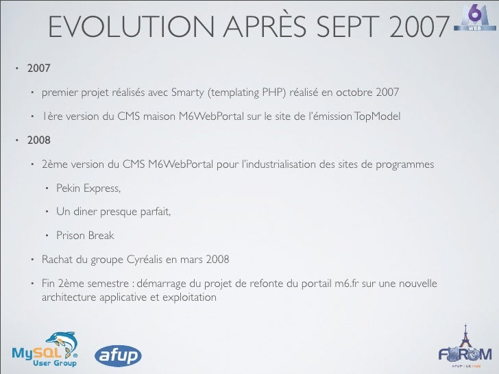 EVOLUTION APRÈS SEPT 2007 •   2007     •   premier projet réalisés avec Smarty (templating PHP) réalisé en octobre 2007   ...