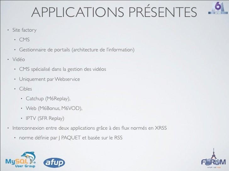 APPLICATIONS PRÉSENTES •   Site factory     •   CMS     •   Gestionnaire de portails (architecture de l'information) •   V...