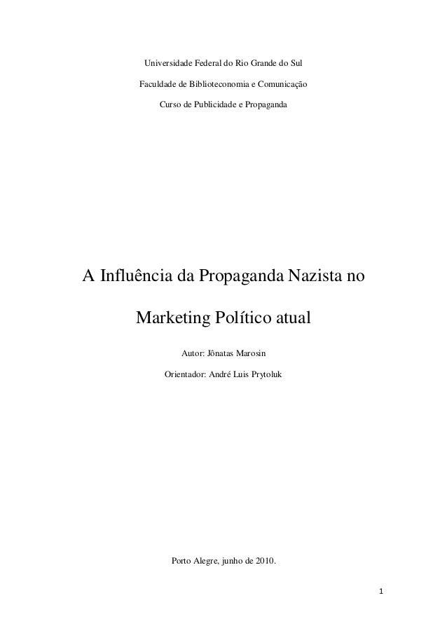1 Universidade Federal do Rio Grande do Sul Faculdade de Biblioteconomia e Comunicação Curso de Publicidade e Propaganda A...