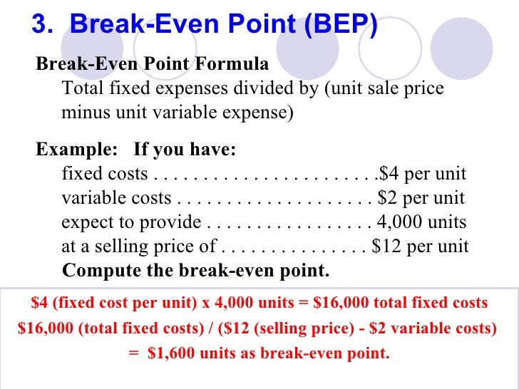 break even point formula pdf