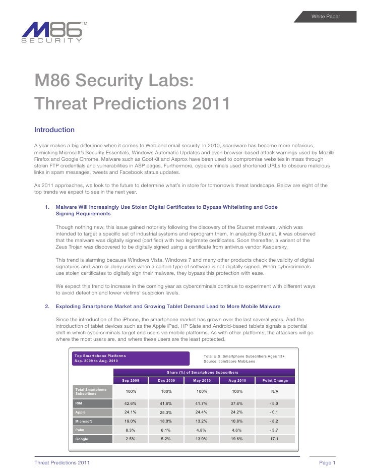 White Paper     M86 Security Labs: Threat Predictions 2011 Introduction  A year makes a big difference when it comes to We...