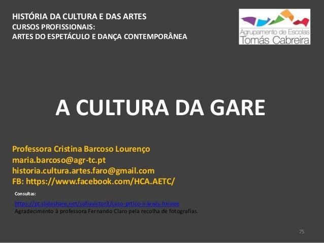 HISTÓRIA DA CULTURA E DAS ARTES CURSOS PROFISSIONAIS: ARTES DO ESPETÁCULO E DANÇA CONTEMPORÂNEA A CULTURA DA GARE 75 Profe...