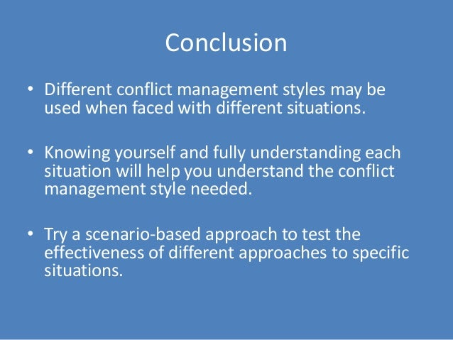 conflict conclusion Conclusion/resolution: providing closure for the narrative, a conclusion to the argument consider the following questions as you develop the conclusion to your narrative how was the conflict resolved, or to what extent.