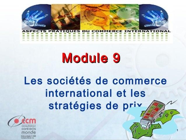 Module 9 Les sociétés de commerce international et les stratégies de prix 1