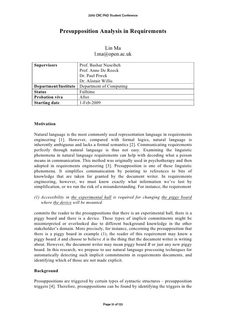 2010 CRC PhD Student Conference                  Presupposition Analysis in Requirements                                  ...