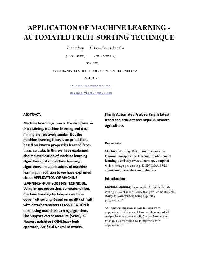 Machine Learning Application-automated Fruit Sorting Technique