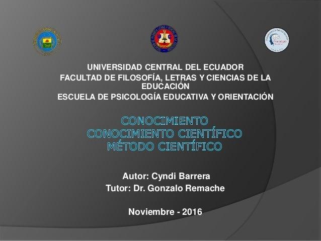 UNIVERSIDAD CENTRAL DEL ECUADOR FACULTAD DE FILOSOFÍA, LETRAS Y CIENCIAS DE LA EDUCACIÓN ESCUELA DE PSICOLOGÍA EDUCATIVA Y...