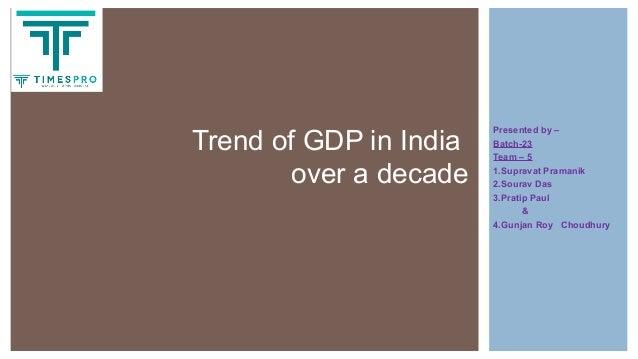Presented by – Batch-23 Team – 5 1.Supravat Pramanik 2.Sourav Das 3.Pratip Paul & 4.Gunjan Roy Choudhury Trend of GDP in I...