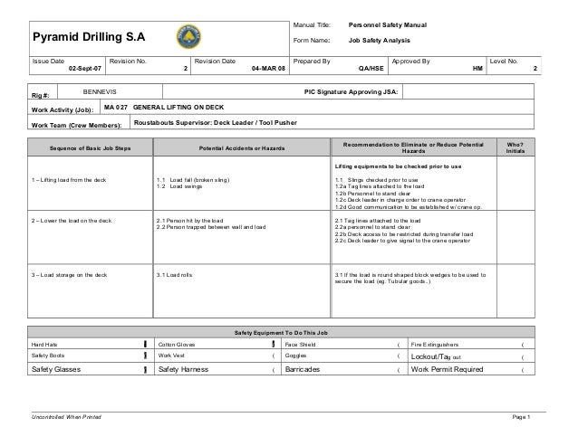 Ma 027 Jsa General Lifting On The Deck  Job Safety Analysis Template Free