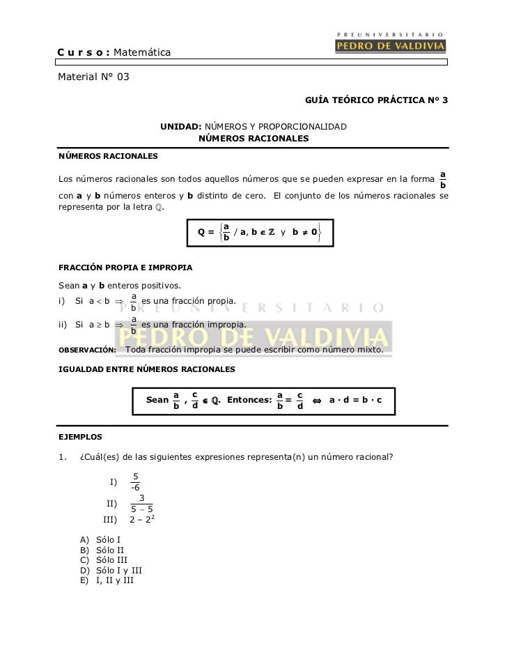 C u r s o : MatemáticaMaterial N° 03                                                             GUÍA TEÓRICO PRÁCTICA Nº ...