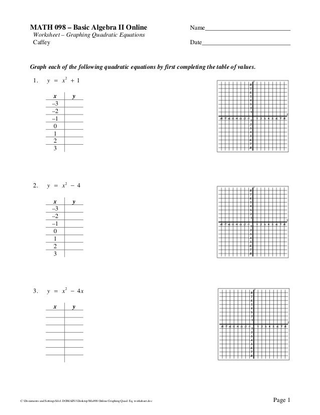 Ma098 online graphingquadeqworksheet – Graphing Quadratic Equations Worksheet