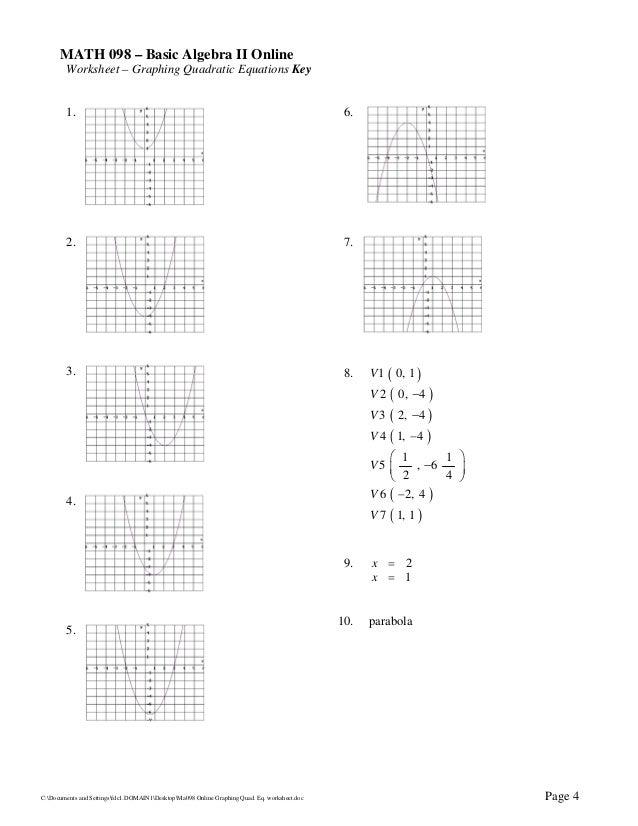 Ma098 online graphing_quad._eq._worksheet