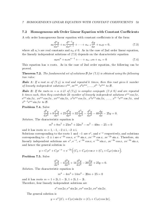 Ma 104 Differential Equations