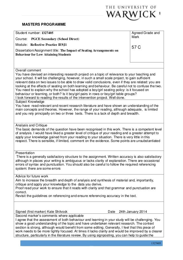 P a g e | 1 1327405 MASTERS PROGRAMME Student number: 1327405 Course: PGCE Secondary (School Direct) Module: Reflective Pr...