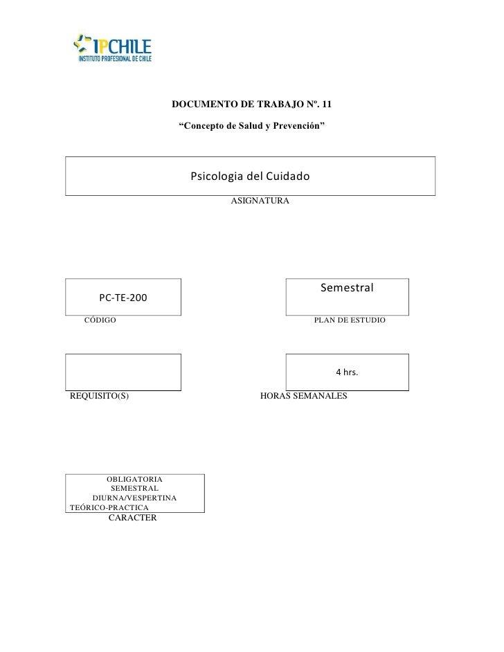 """DOCUMENTO DE TRABAJO Nº. 11                        """"Concepto de Salud y Prevención""""                          Psicologia de..."""