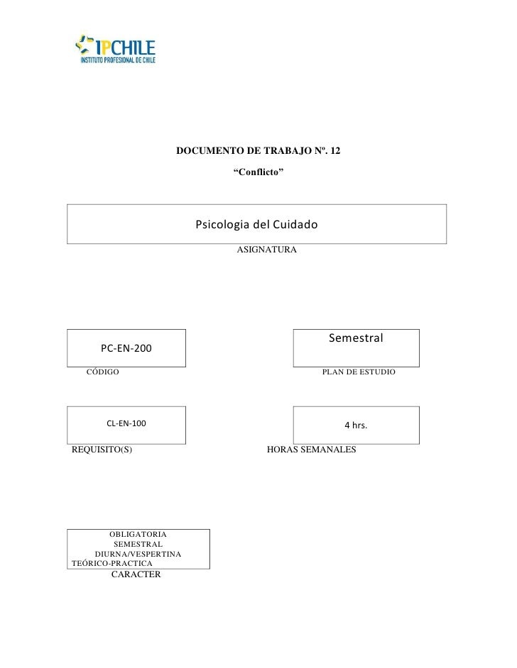 """DOCUMENTO DE TRABAJO Nº. 12                              """"Conflicto""""                        Psicologia del Cuidado        ..."""