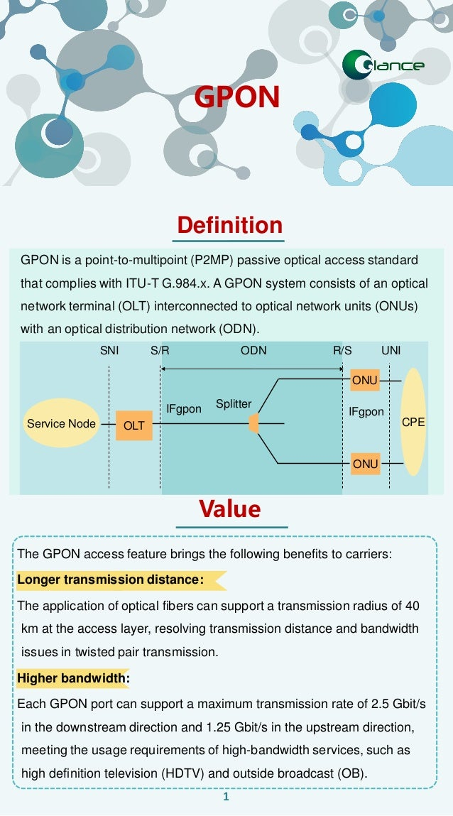 GPON is a point-to-multipoint (P2MP) passive optical access standard that complies with ITU-T G.984.x. A GPON system consi...