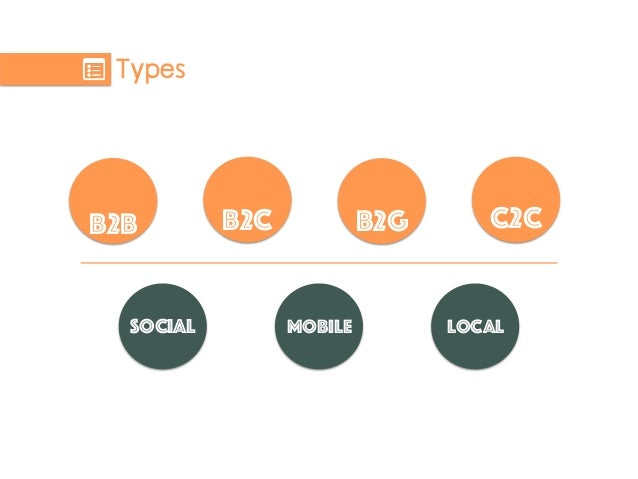 Types B2B B2C C2C Social Mobile Local B2G