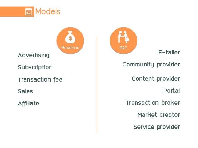 Models Revenue Advertising Subscription Transaction fee Sales Affiliate E-tailer Community provider Content provider Po...
