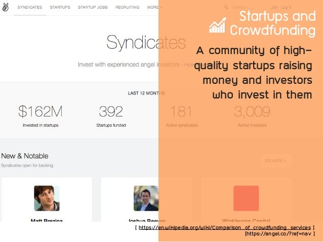 Startups and Crowdfunding A community of high- quality startups raising money and investors who invest in them [ https://e...