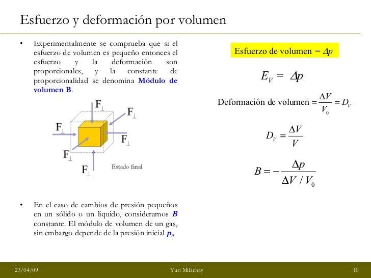 Esfuerzo y deformación por volumen <ul><li>Experimentalmente se comprueba que si el esfuerzo de volumen es pequeño entonce...