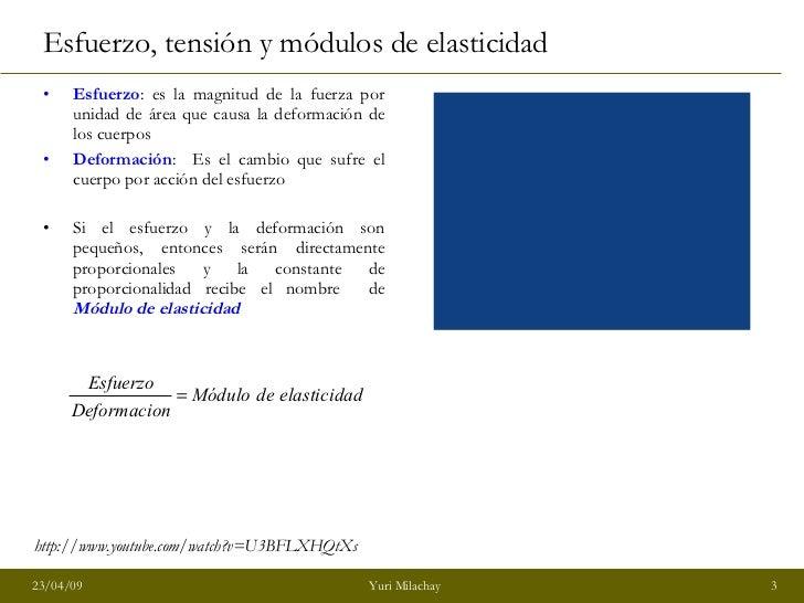 Esfuerzo, tensión y módulos de elasticidad <ul><li>Esfuerzo : es la magnitud de la fuerza por unidad de área que causa la ...