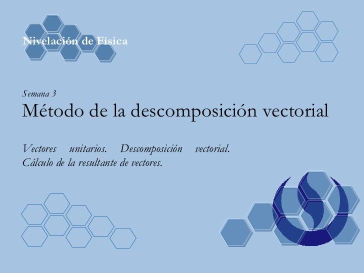Semana 3 Método de la descomposición vectorial Vectores unitarios. Descomposición vectorial. Cálculo de la resultante de v...