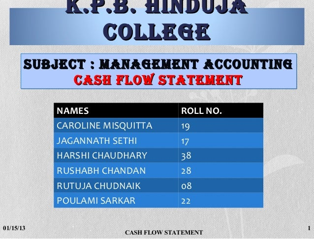 K.P.B. HINDUJA               COLLEGE       SUBJECT : MANAGEMENT ACCOUNTING             CASH FLOW STATEMENT           NAMES...