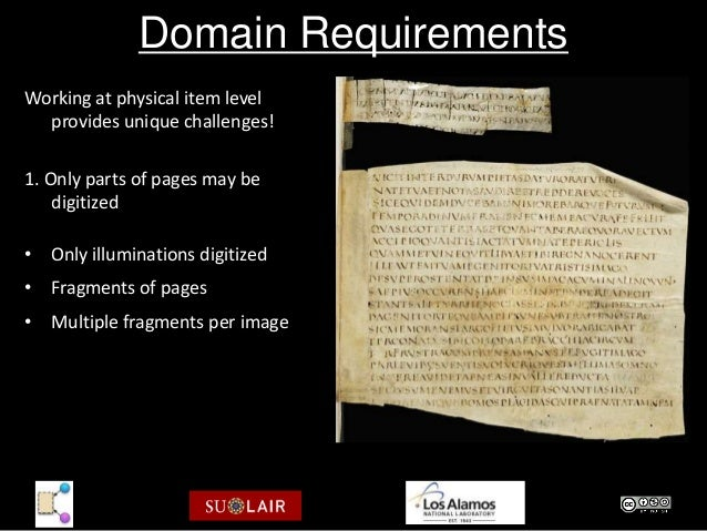 Domain RequirementsWorking at physical item level  provides unique challenges!1. Only parts of pages may be    digitized• ...
