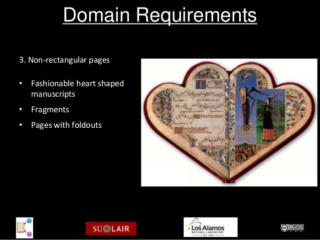 Domain Requirements3. Non-rectangular pages• Fashionable heart shaped  manuscripts• Fragments• Pages with foldouts        ...