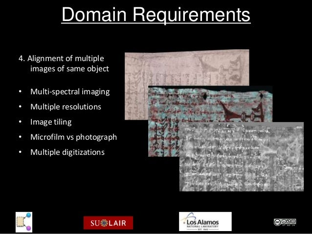 Domain Requirements4. Alignment of multiple    images of same object• Multi-spectral imaging• Multiple resolutions• Image ...