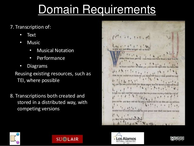 Domain Requirements7. Transcription of:     • Text     • Music          • Musical Notation          • Performance     • Di...