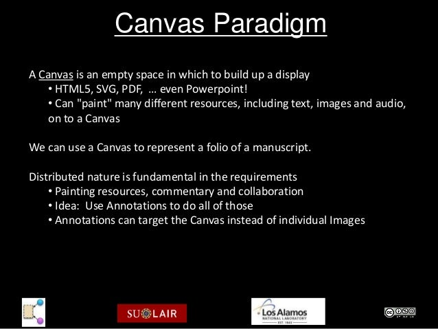 """Canvas ParadigmA Canvas is an empty space in which to build up a display   • HTML5, SVG, PDF, … even Powerpoint!   • Can """"..."""