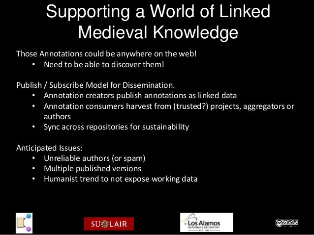 Supporting a World of Linked           Medieval KnowledgeThose Annotations could be anywhere on the web!    • Need to be a...