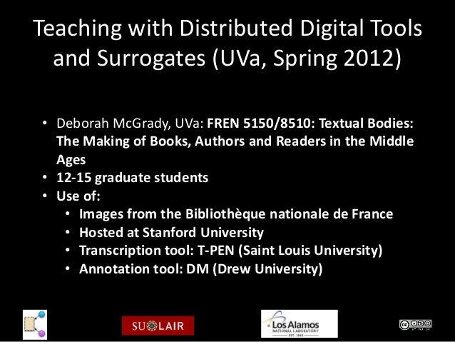 Teaching with Distributed Digital Tools  and Surrogates (UVa, Spring 2012)• Deborah McGrady, UVa: FREN 5150/8510: Textual ...