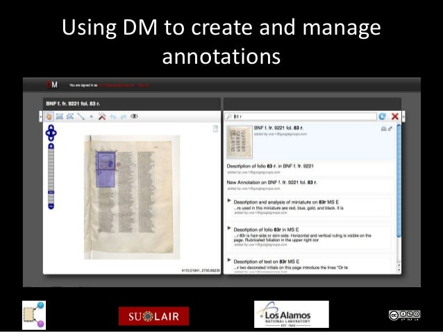 Using DM to create and manage         annotations