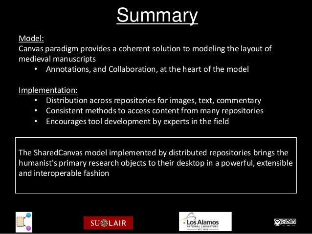 SummaryModel:Canvas paradigm provides a coherent solution to modeling the layout ofmedieval manuscripts    • Annotations, ...