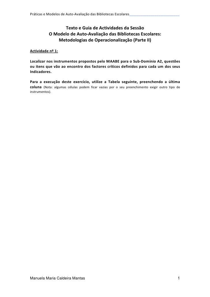 MAABE - Metodologias e Operacionalização (2.ª parte)