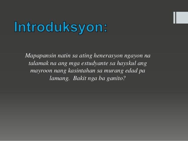 sanhi at bunga ng maagang pagbubuntis thesis