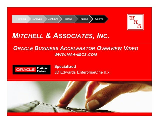 Planning Analyze Configure Testing Training Go-live MITCHELL & ASSOCIATES, INC. Specialized JD Edwards EnterpriseOne 9.x O...