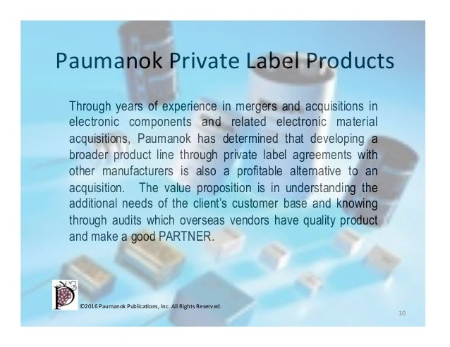 Mergers & Acquisitions and Private Label Services For The