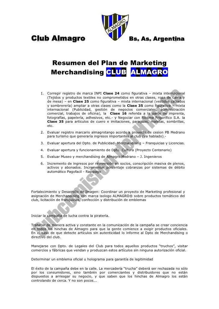 Club Almagro                                              Bs. As. Argentina                Resumen del Plan de Marketing  ...