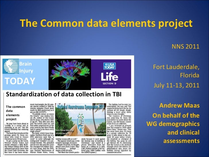 The Common data elements project Standardization of data collection in TBI NNS 2011 Fort Lauderdale, Florida July 11-13, 2...