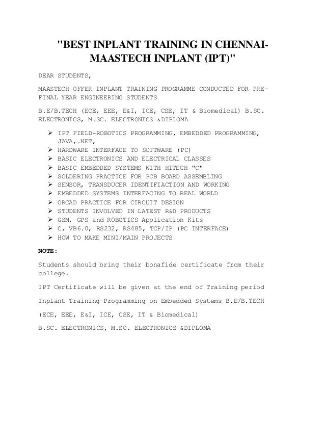 """BEST INPLANT TRAINING IN CHENNAI- MAASTECH INPLANT (IPT)"" DEAR STUDENTS, MAASTECH OFFER INPLANT TRAINING PROGRAMME CONDUC..."