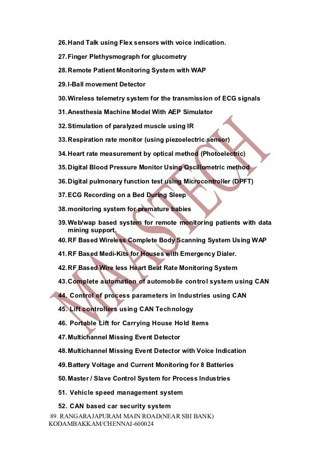 Final Year Electrical Projects Electronics Projects List