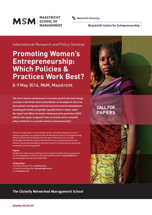 Maastricht Centre for Entrepreneurship  International Research and Policy Seminar  Promoting Women's Entrepreneurship: Whi...
