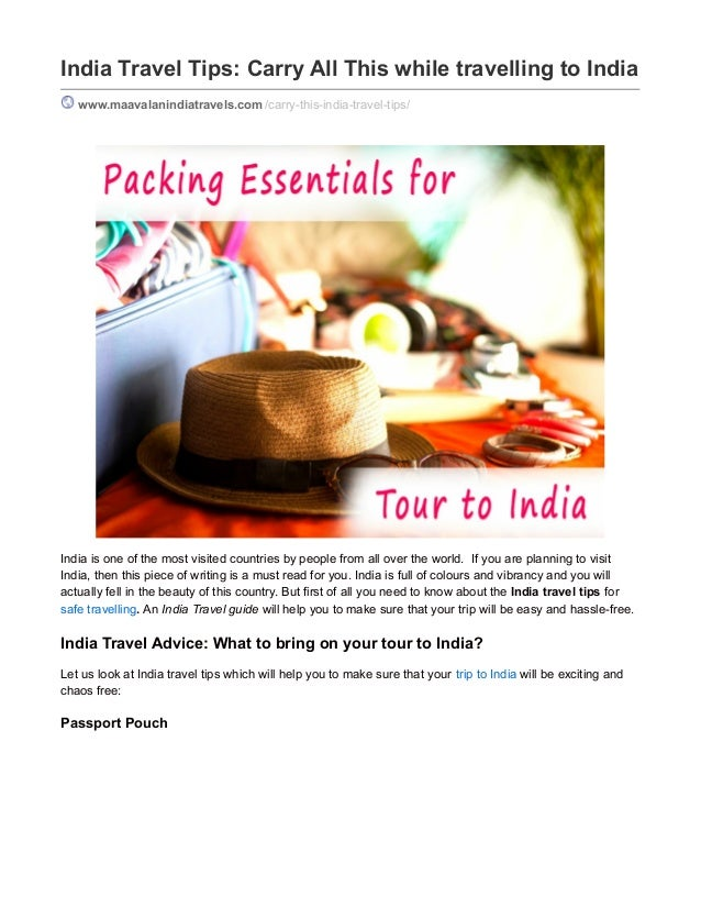 India Travel Tips: Carry All This while travelling to India www.maavalanindiatravels.com /carry-this-india-travel-tips/ In...