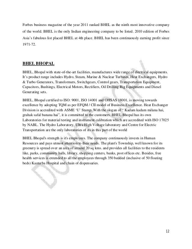 Maaz arif mba ib bhel internship report for Electrical motor controls for integrated systems 4th edition