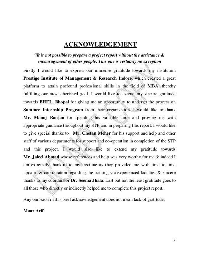 Maaz Arif Mba Ib Bhel Internship Report
