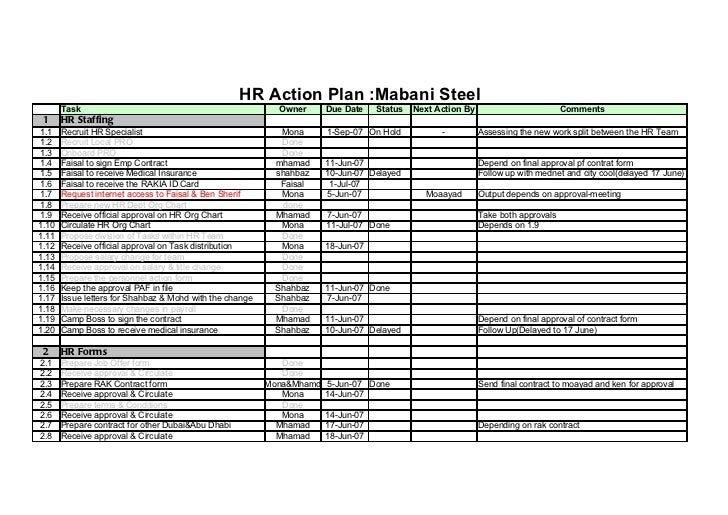 Mabani steel hr action plan 1 for Human resources action plan template